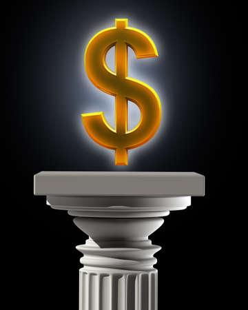 marbles close up: Column Pedestal with US dollar symbol High resolution 3D