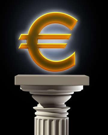 marbles close up: Column Pedestal with Euro symbol High resolution 3D