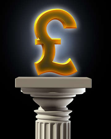Column Pedestal with British pound symbol High resolution 3D photo