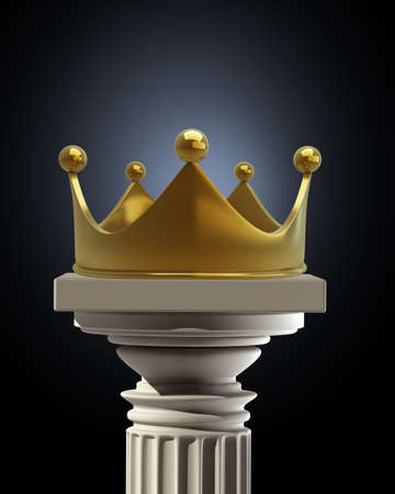 Column Pedestal with golden crown isolated on black background High resolution 3D  photo