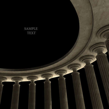 Old columns is ancient style. High resolution Realistic 3D illustration sepia toned  illustration