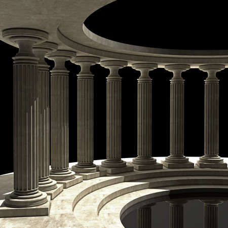 3d temple: Old columns is ancient style. High resolution Realistic 3D illustration sepia toned