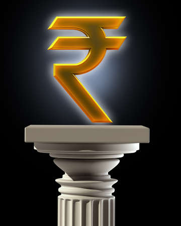 indian currency: Column Pedestal with Indian rupee symbol isolated on black background High resolution 3D