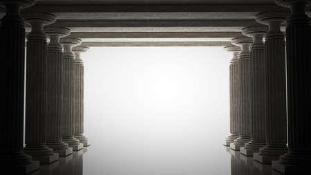 columnas romanas: Antiguo columnas es de estilo antiguo. Ilustración de alta resolución 3D realista tonos sepia
