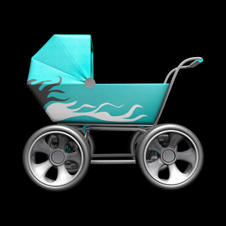 baby carriage: Baby super Carriage with big car wheel. CONCEPT. High resolution 3d render
