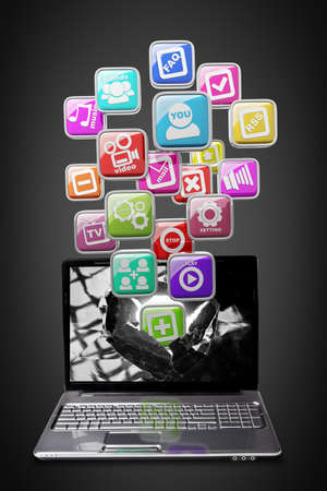 Computer mobility. laptop with color application icons High resolution 3d render  Stock Photo - 18759547
