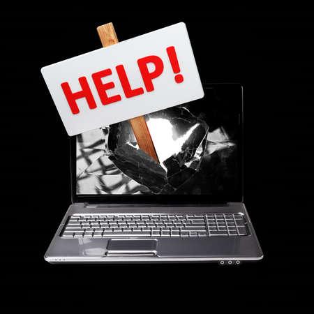 Laptop with a sign HELP 3d illustration  illustration