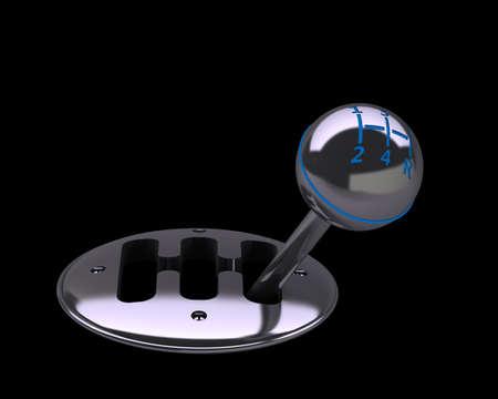 gear  speed: Render 3D di ingranaggi del cambio auto su sfondo nero 3d ad alta risoluzione. Archivio Fotografico