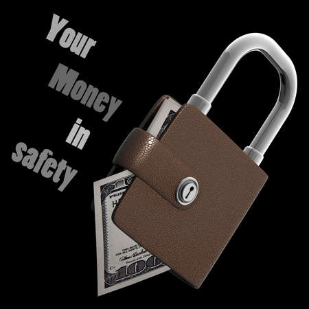 Concept. Wallet lock isolated on black background High resolution 3d render  photo