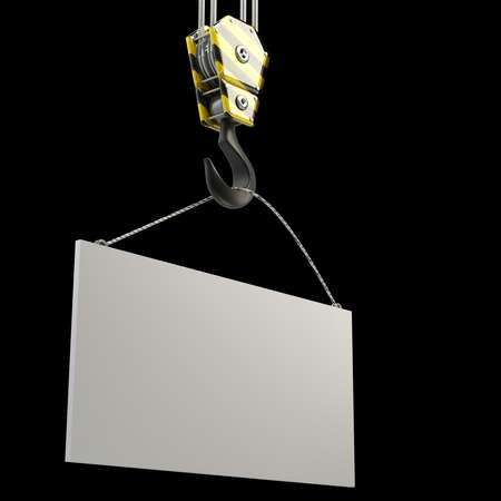 pulley: Yellow crane hook lifting white blank plane, isolated on black background 3d illustration, High resolution   Stock Photo