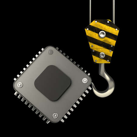 lading: Yellow crane hook lifting Processor unit CPU isolated on black background High resolution 3d illustration