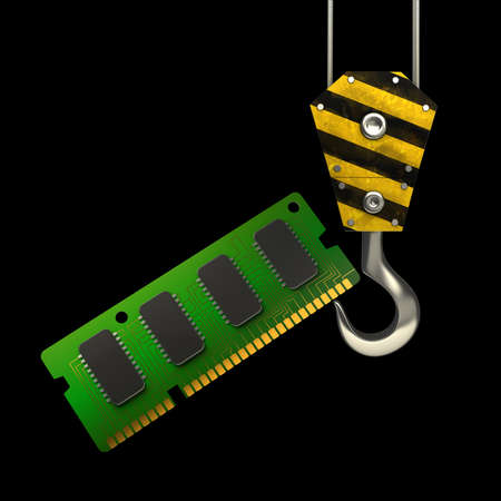 computer memory: Yellow crane hook lifting RAM Memory Card isolated on black background High resolution 3d illustration