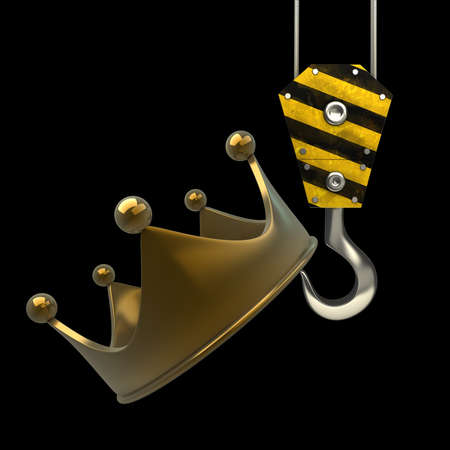 lading: Yellow crane hook lifting golden crown isolated on black background High resolution 3d illustration