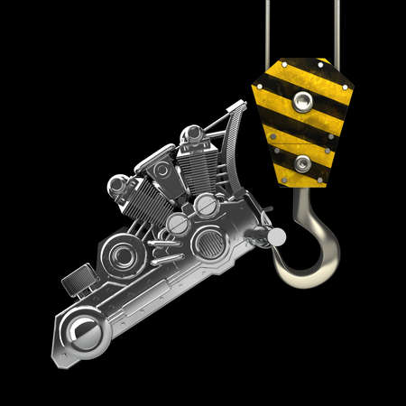 crane parts: Yellow crane hook lifting chromed motorcycle engine isolated on black background High resolution 3d illustration
