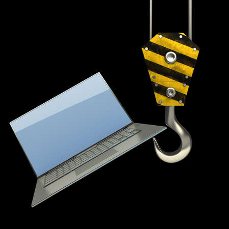 Yellow crane hook lifting laptop isolated on black background High resolution 3d illustration Stock Illustration - 18759355