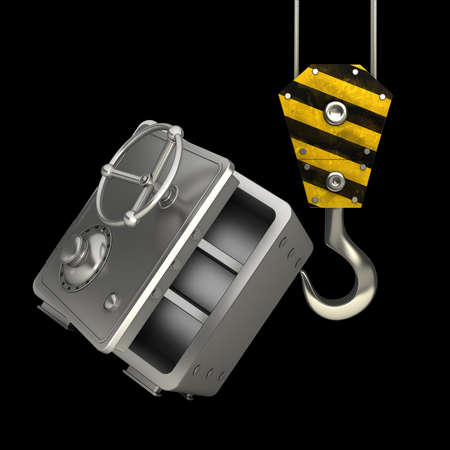 lading: Yellow crane hook lifting steel bank safe isolated on black background High resolution 3d illustration  Stock Photo