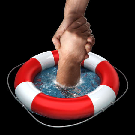 saver: Business concept Red life buoy with hands in the water High resolution