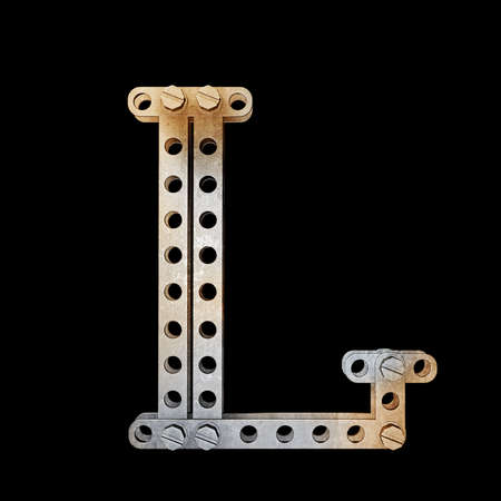 grunge metallic letter with rivets and screws isolated on black background 3d render high resolution