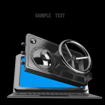 Abstract laptop safe (concept) isolated on black background High resolution 3d render  photo