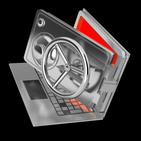 Abstract laptop safe (concept) isolated on black background High resolution 3d render Stock Photo - 18759480
