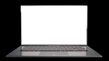 thin laptop with screen isolated on black background High resolution 3D photo