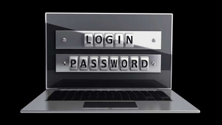 Laptop with steel security password isolated on black background. High resolution 3D  Stock Photo - 18759467