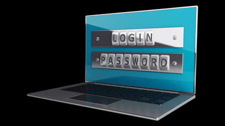 Laptop with steel security password isolated on black background. High resolution 3D  Stock Photo - 18759401