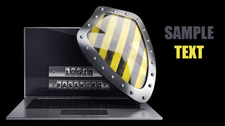 Laptop with steel security password and shield isolated on black background. High resolution 3D photo