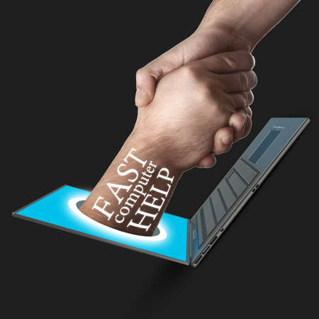 ecomerce: A hand comes right out of the laptop screen to shake hands CONCEPT. High resolution