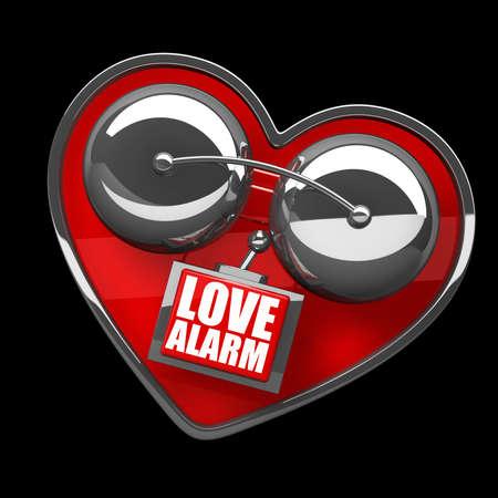 Concept. LOVE alarm Red alarm bell heart shape isolated on black background. high resolution 3d illustration illustration
