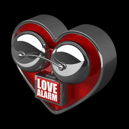 Concept. LOVE alarm Red alarm bell heart shape isolated on black background. high resolution 3d illustration Stock Illustration - 18759224