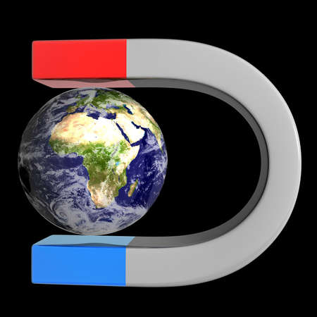 """magnetismo: Imán y tierra aislado sobre fondo negro 3d de alta resolución """", los elementos de esta imagen proporcionada"""