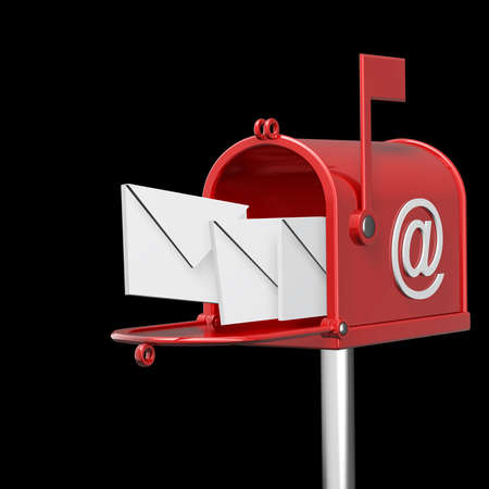 spam mail: Mailbox with flying letters isolated on black background High resolution 3d render