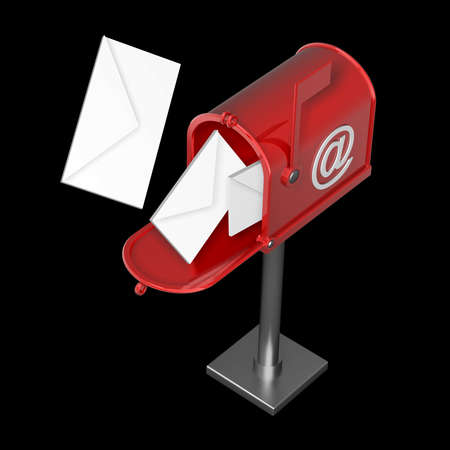 Mailbox with flying letters isolated on black background High resolution 3d render  photo