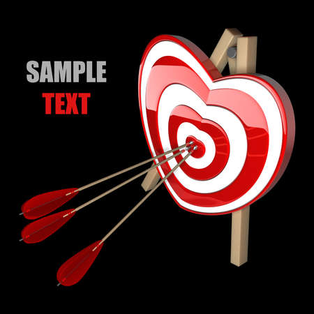 love target: Red heart target aim with arrows isolated on black background. high resolution 3d illustration