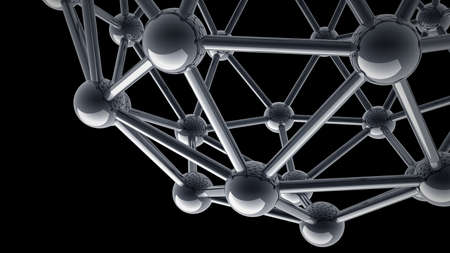3D rendered silver glossy molecules structure isolated on black background High resolution  photo