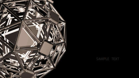 3D rendered silver glossy core molecules structure isolated on black background High resolution  Stock Photo - 18759593