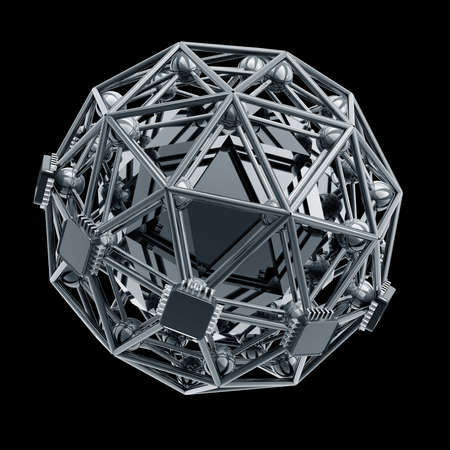 3D rendered silver glossy core molecules structure isolated on black background High resolution  photo