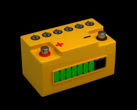 12v: Bater�a de coche aislado en fondo negro de alta resoluci�n. Imagen 3D