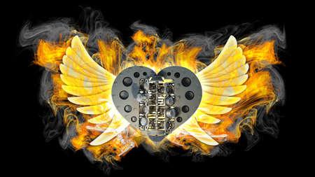 voiture de pompiers: chromé moteur de moto coeur avec des ailes en feu. fond noir. haute résolution 3d image