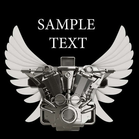 chromed motorcycle engine with wings Isolated on black background. high resolution 3d image