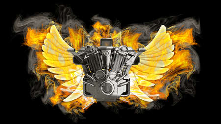 chromed motorcycle engine with wings in Fire. Isolated on black background. high resolution 3d image  photo