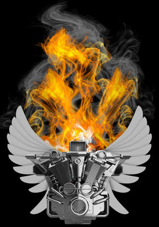 high resolution: chromed motorcycle engine with wings in Fire. Isolated on black background. high resolution 3d image  Stock Photo