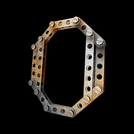 grunge metallic letter with rivets and screws isolated on black background 3d render high resolution  photo