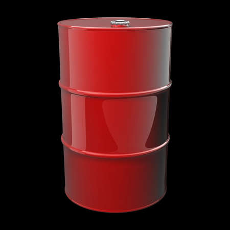 3D red barrel isolated on black background High resolution  photo