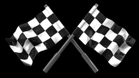 two crossed checkered flags: Two crossed checkered flags isolated on black background. high resolution 3d illustration