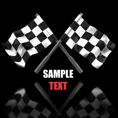 Two crossed checkered flags isolated on black background. high resolution 3d illustration  illustration