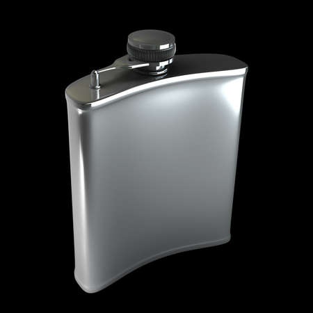 hip flask: Hip flask isolated on black background. High resolution 3d render