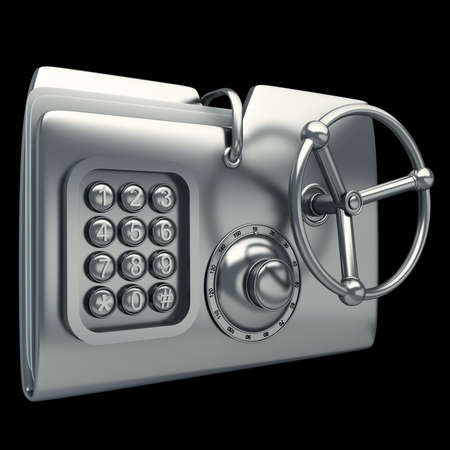 encryption icon: computer folder designed to seem a safe isolated on black background Concept of protection of digital data 3d render