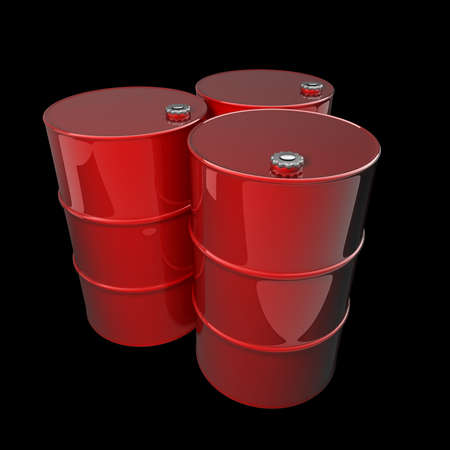 barell: Three red barrels isolated on black background High resolution 3d render  Stock Photo